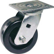 """Faultless Swivel Plate Caster 1461-8RB 8"""" Polyolefin Wheel with Brake"""