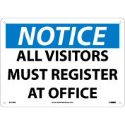 """Safety Signs - Notice All Visitors Must Register - Rigid Plastic 10""""H X 14""""W"""