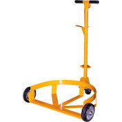 Vestil Low Profile Drum Caddy with Bung Wrench Handle LO-DC-MR, Mold-on Rubber Wheels