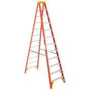 Werner 12' Fiberglass Step Ladder w/ Plastic Tool Tray 300 lb. Cap - 6212
