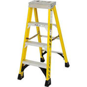 Werner 4' Fiberglass Step Ladder w/ Aluminum Tool Tray 375 lb. Cap - 7304