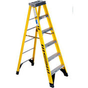 Werner 6' Fiberglass Step Ladder w/ Aluminum Tool Tray 375 lb. Cap - 7306
