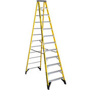 Werner 12' Fiberglass Step Ladder w/ Plastic Tool Tray Cap - 7312