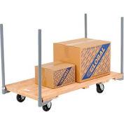 "Stake Handle Hardwood Deck Platform Truck 54 x 27 1400 Lb. Capacity 5"" Rubber Casters"