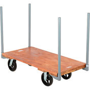 "Stake Handle Hardwood Deck Platform Truck 48 x 24 2400 Lb. Capacity 8"" Rubber Casters"