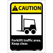 "Graphic Signs - Caution Forklift Traffic Area - Vinyl 7""W X 10""H"