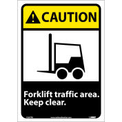 """Graphic Signs - Caution Forklift Traffic Area - Vinyl 10""""W X 14""""H"""