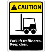 "Graphic Signs - Caution Forklift Traffic Area - Plastic 10""W X 14""H"