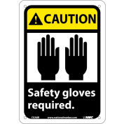 "Graphic Signs - Caution Safety Gloves Required - Plastic 7""W X 10""H"