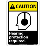 """Graphic Signs - Caution Hearing Protection - Plastic 10""""W X 14""""H"""