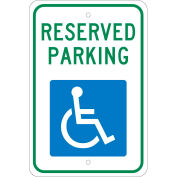 "Aluminum Sign - Reserved Parking Handicapped Logo - .08"" Thick, TM87J"