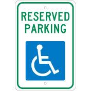 "Aluminum Sign - Reserved Parking Handicapped Logo - .08"" Thick, TM87J"