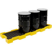 Eagle 1647 4 Drum Inline Spill Containment Platform - Yellow with No Drain