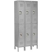 Infinity™ Locker Double Tier 3 Wide 12x18x36 Assembled Gray