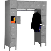 Tennsco Box Locker SRK-721878-1 02 - 16 Person w/Legs 12x18x12 Unassembled, Medium Grey