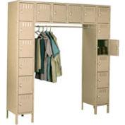 Tennsco Steel Locker SRS-721878-1-SND - 16 Person w/Legs 12x18x12 Assembled Sand