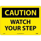 """Safety Signs - Caution Watch Your Step - Rigid Plastic 10""""H X 14""""W"""