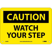 """Safety Signs - Caution Watch Your Step - Rigid Plastic 7""""H X 10""""W"""