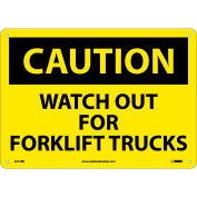 """Safety Signs - Caution Watch Out Forklift Trucks - Rigid Plastic 10""""H X 14""""W"""