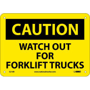 """Safety Signs - Caution Watch Out Forklift Trucks - Rigid Plastic 7""""H X 10""""W"""