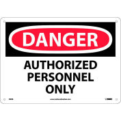 """Safety Signs - Danger Authorized Personnel Only - Rigid Plastic 10""""H X 14""""W"""