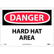 """Safety Signs - Danger Hard Hat Area - Rigid Plastic 10""""H X 14""""W"""