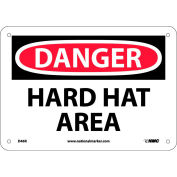 """Safety Signs - Danger Hard Hat Area - Rigid Plastic 7""""H X 10""""W"""