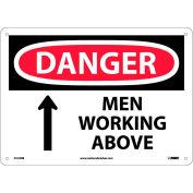 "Safety Signs - Danger Men Working Above - Rigid Plastic 10""H X 14""W"