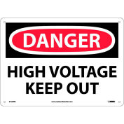 """Safety Signs - Danger High Voltage Keep Out - Rigid Plastic 10""""H X 14""""W"""