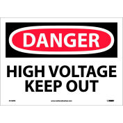 "Safety Signs - Danger High Voltage Keep Out - Vinyl 10""H X 14""W"