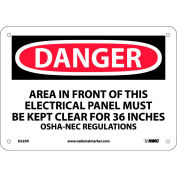"""Safety Signs - Danger Area - Rigid Plastic 7""""H X 10""""W"""