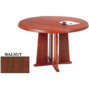 48 Inch Round Table Walnut Finish