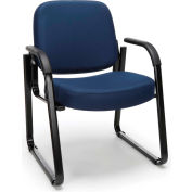 OFM Guest and Reception Chair with Arms and Extra Thick Cushion, Fabric, Navy
