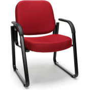 OFM Guest and Reception Chair with Arms and Extra Thick Cushion, Fabric, Wine