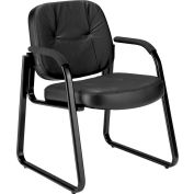 OFM Leather Guest and Reception Chair with Extra Thick Cushion, Black