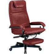 OFM Executive Ergonomic Reclining Office Chair w Footrest, Anti-Microbial Vinyl, High Back, Burgundy