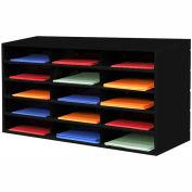 "15 Compartment Steel Literature Sorter - 18""H Black"
