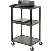 Plastic Audio Visual & Instrument Cart 24 x 18 x 42 Three Shelves - 250lb capacity