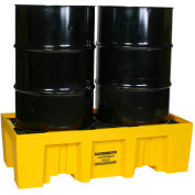 Eagle 1620 2 Drum Spill Containment Pallet 66 Gallon Capacity - Yellow with Drain