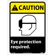 "Graphic Signs - Caution Eye Protection Required - Vinyl 10""W X 14""H"