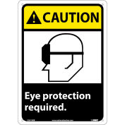 """Graphic Signs - Caution Eye Protection Required - Plastic 10""""W X 14""""H"""