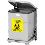 Fire Safe Silent Step On Metal Trash Cans