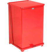 Rubbermaid® ST40ERB Defenders® Fire Safe Step On Metal Trash Cans, 40 Gallon, Red