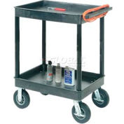 "Luxor® TC11FR8-B Tray Top Shelf 2 Shelf Plastic Cart 8"" Semi-Pneu Casters"