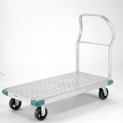 "Aluminum Diamond Deck Platform Truck 48 x 24 2000 Lb. Capacity 6"" Rubber Casters"