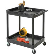 "Luxor® TC11 Tray Top Shelf 2 Shelf Plastic Utility Cart 32x24 4"" Casters"