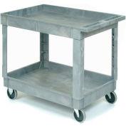"Plastic 2 Shelf Tray Service & Utility Cart 40x26, 5"" Rubber Casters"