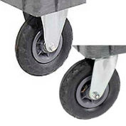 """Replacement 8"""" Pneumatic Caster Kit for Plastic Service Carts, 2 Swivel, 2 Rigid"""