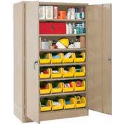 Global Industrial™ Locking Storage Cabinet 48x24x78 - 24 YL Stacking Bins & 6 Shelves Assembled