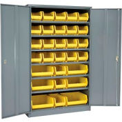 "Locking Storage Cabinet 48""W X 24""D X 78""H With 29 Yellow Stacking Bins and 6 Shelves Assembled"